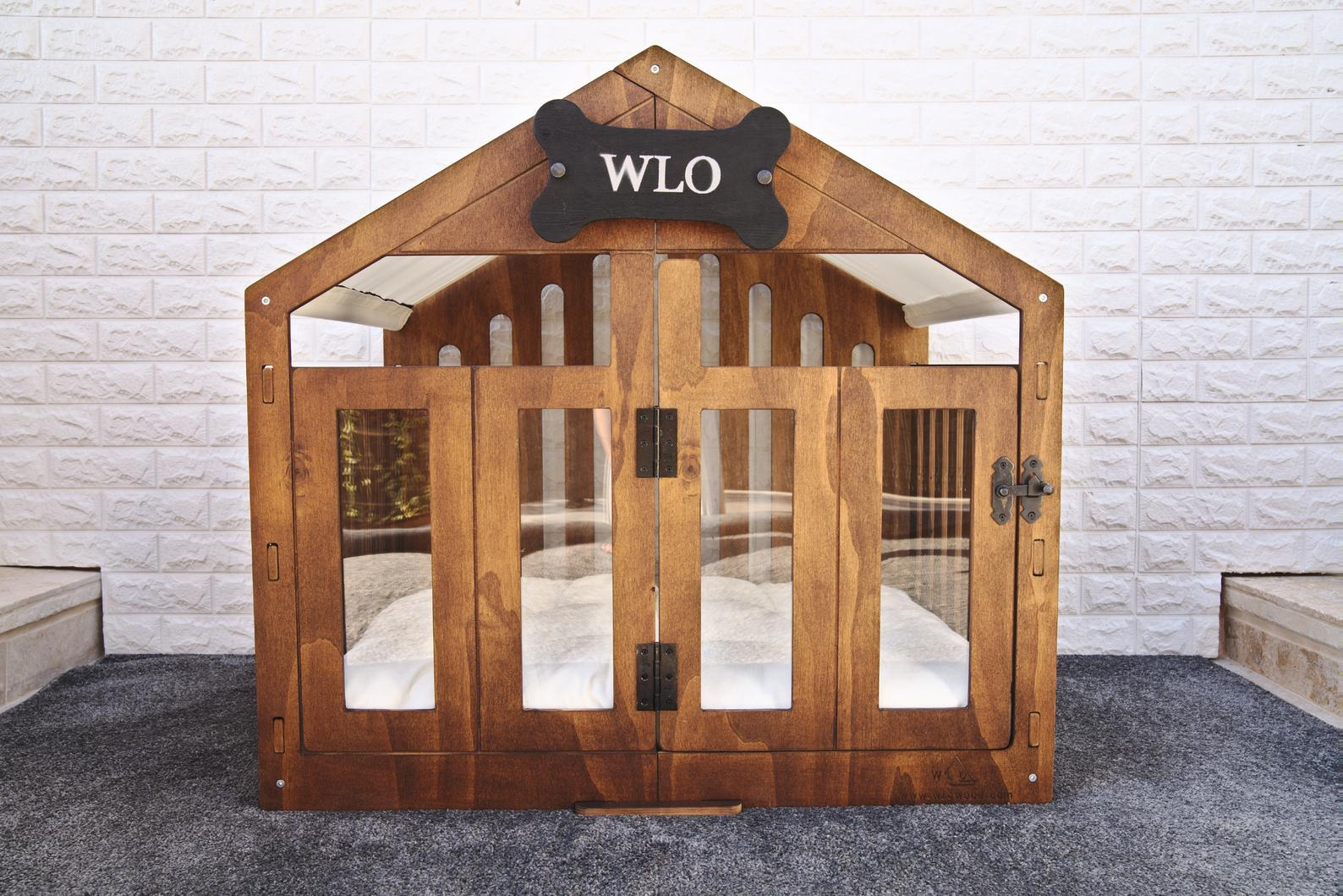 13 Practical Dog Crates for Big Dogs (up to XXXL) - Image via WLO Wood (Etsy) feat. Modern Dog House Crate (Tent Roof) (XXL – 51.2 inch)