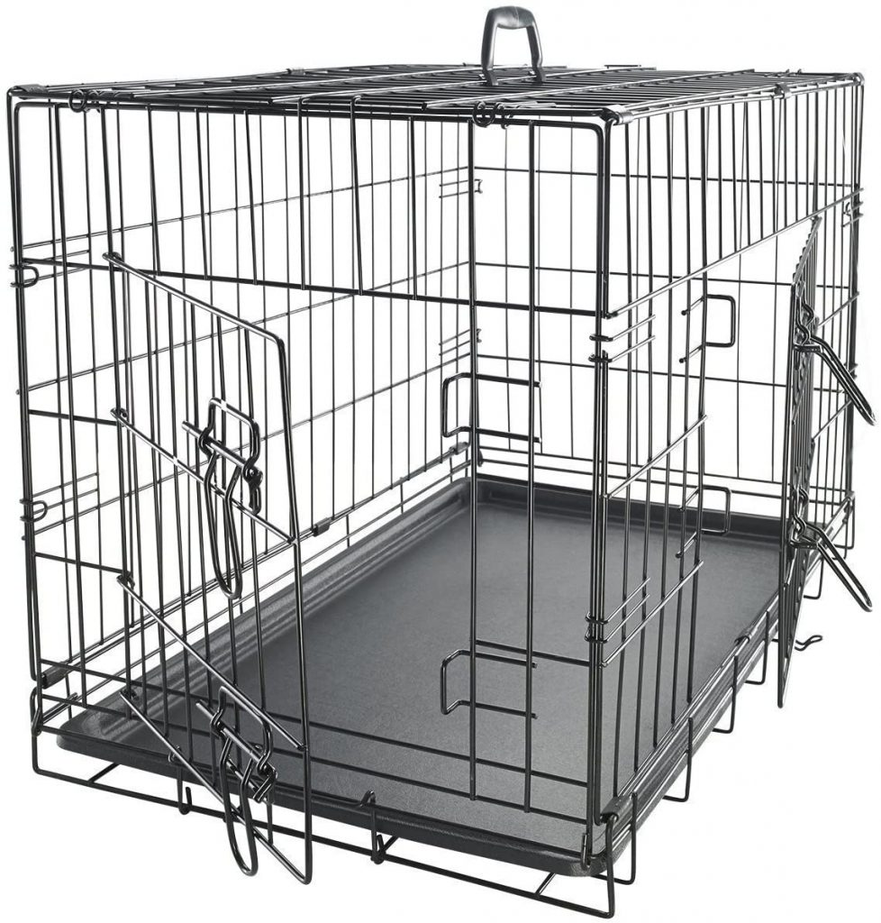 Double-Door Folding Metal Dog Crate - Paws & Pals via Amazon