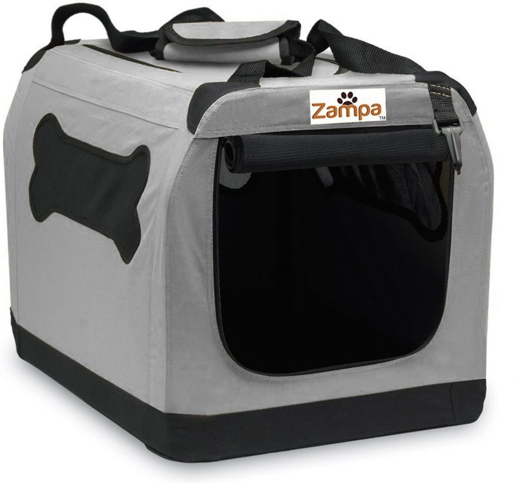 Double-Door Collapsible Soft-Sided Dog Crate - Zampa, via Chewy - dog crates for big dogs.