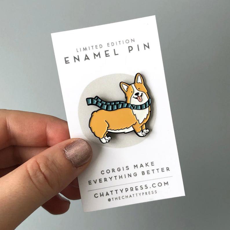 Corgi Enamel Pin via Etsy, @thechattypress