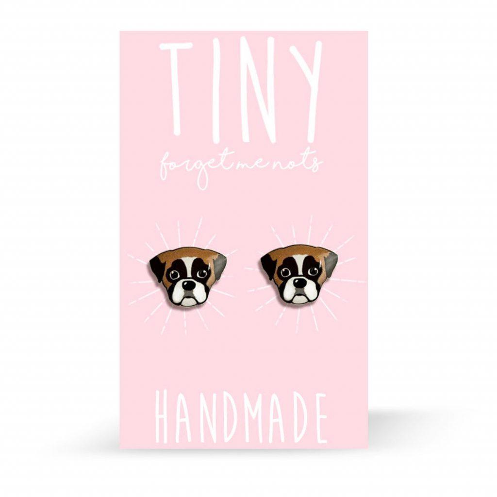 Boxer Dog Stud Earrings via TinyForgetMeNots on Etsy