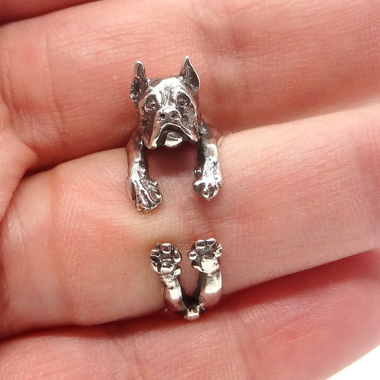 Boxer Dog Silver Ring via InmMotion on Etsy