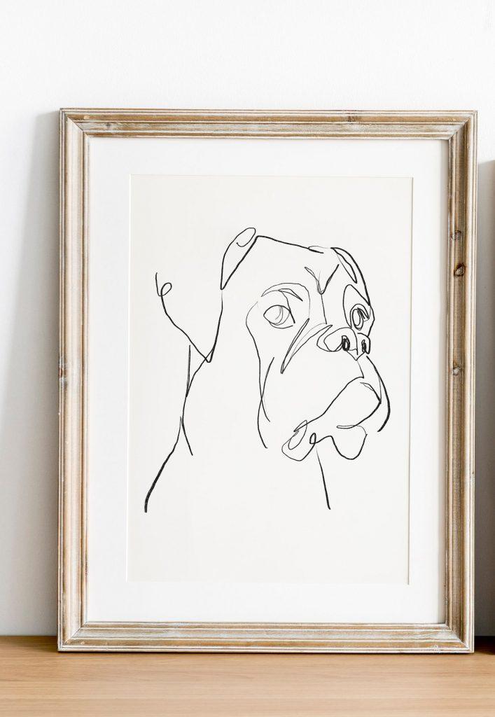 Boxer Dog Line Art via BlossomDays on Etsy