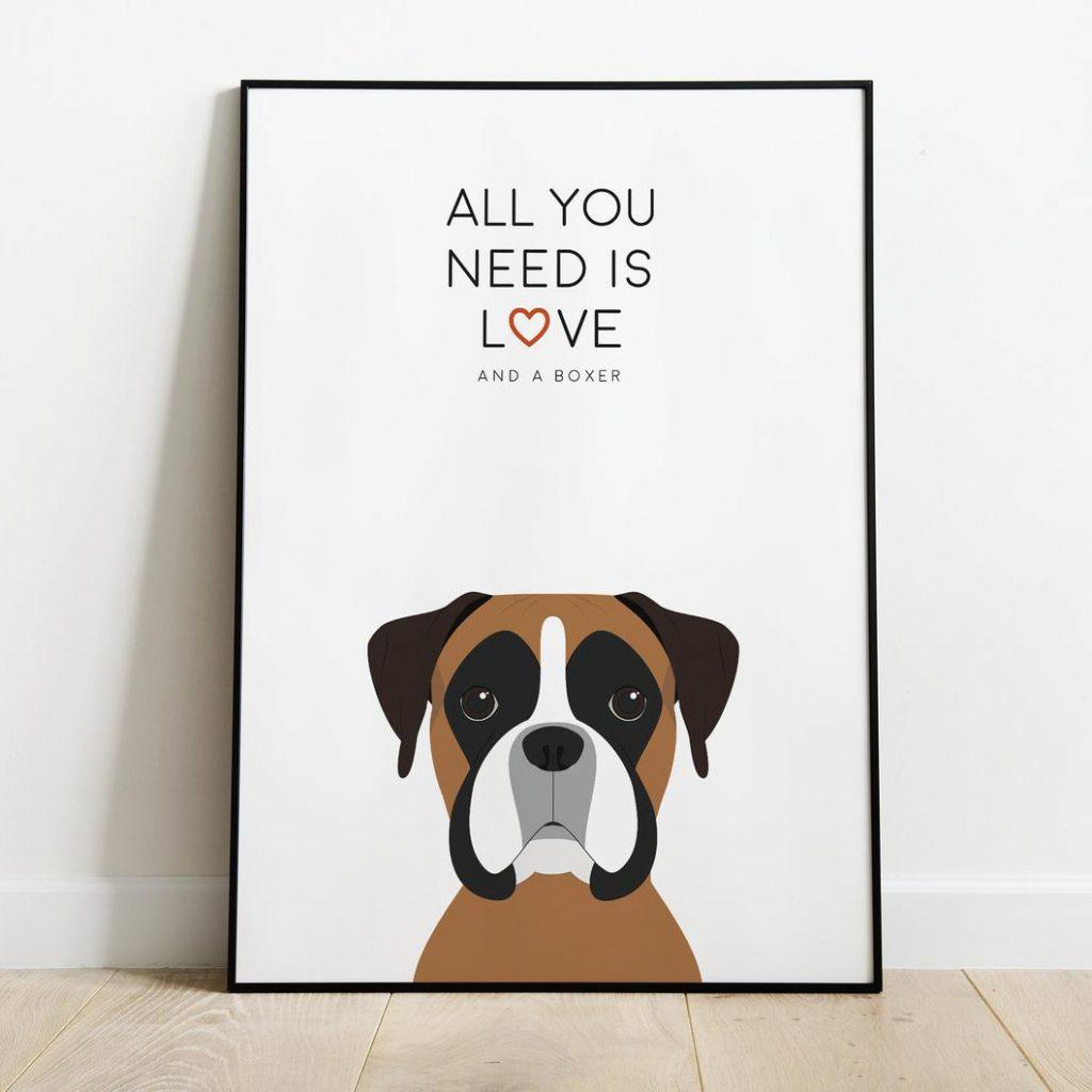 Boxer Dog Wall Art via PrintyShopUK on Etsy