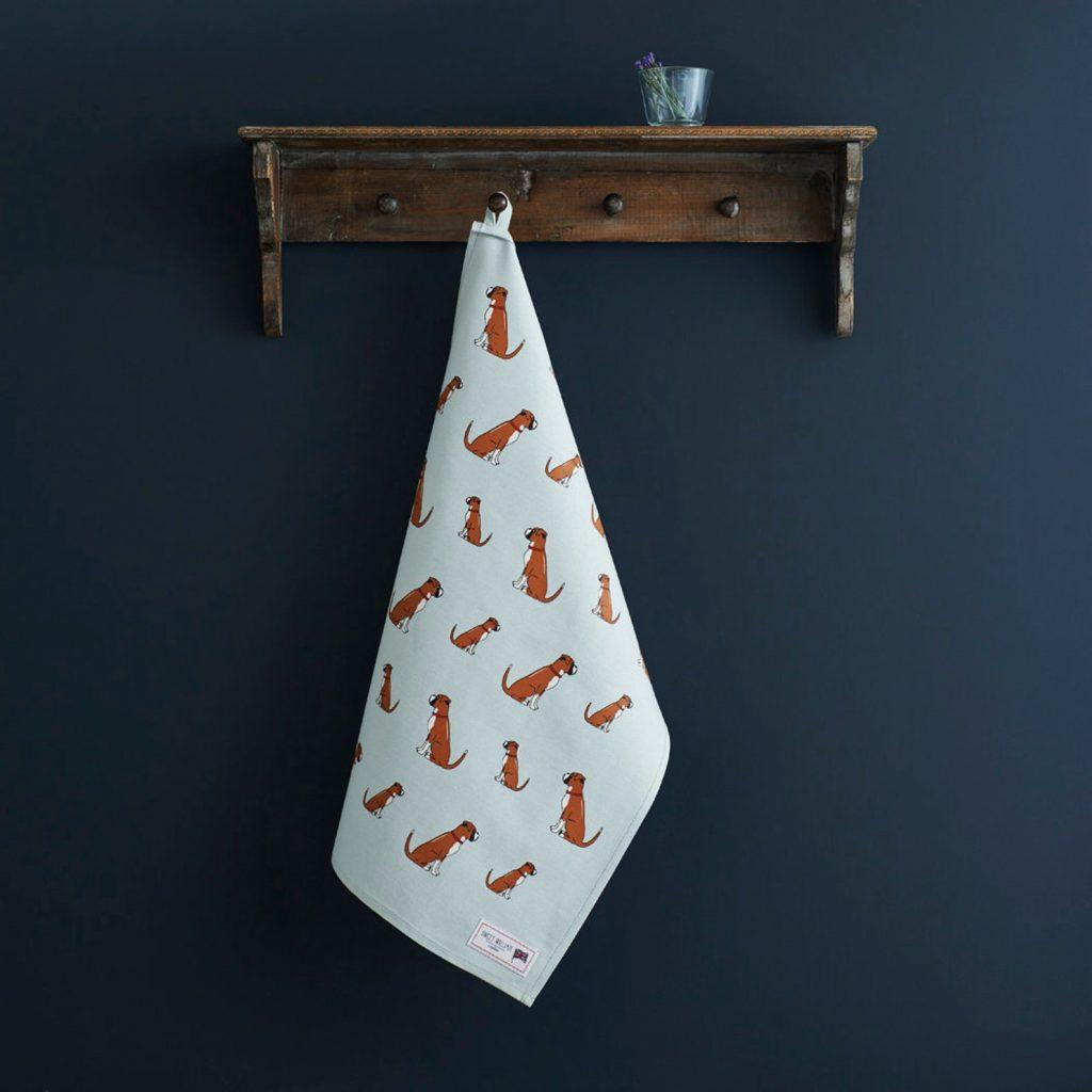 Boxer Dog Tea Towel via SweetWilliamLondon on Etsy