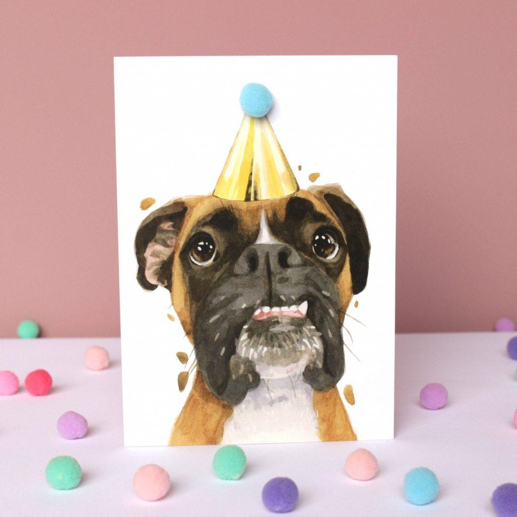 Boxer Dog Birthday Card via RobertJamesHullArt on Etsy