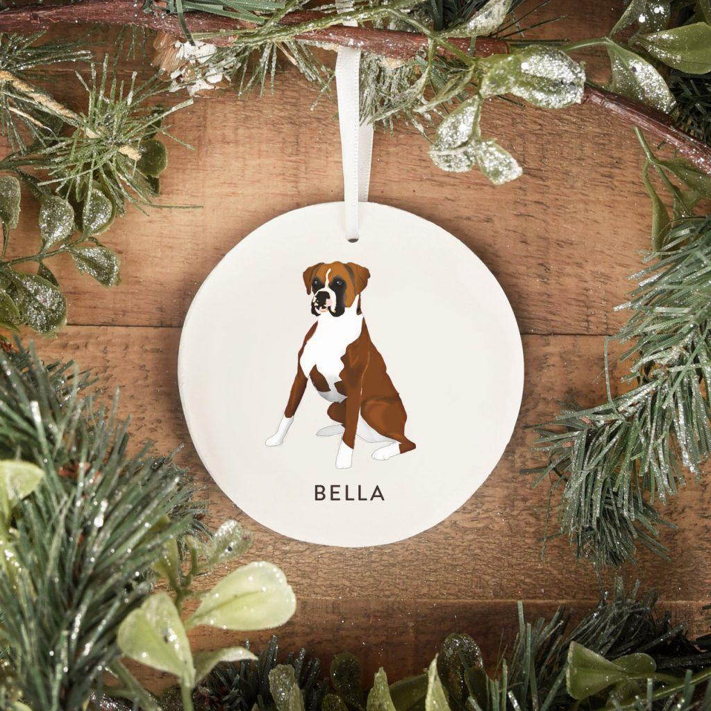 Boxer Dog Christmas Ornament via MooseberryDesignCo on Etsy