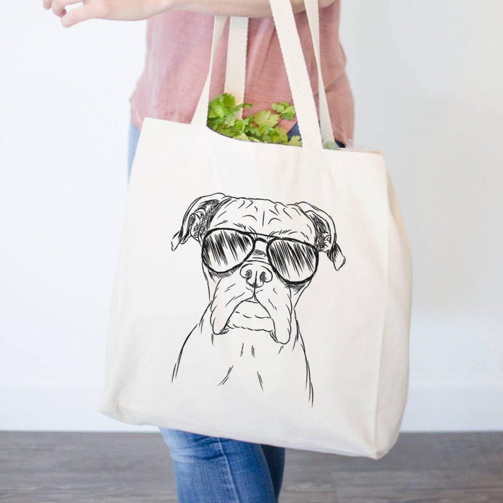 Boxer Dog Canvas Tote Bag via Inkopious on Etsy