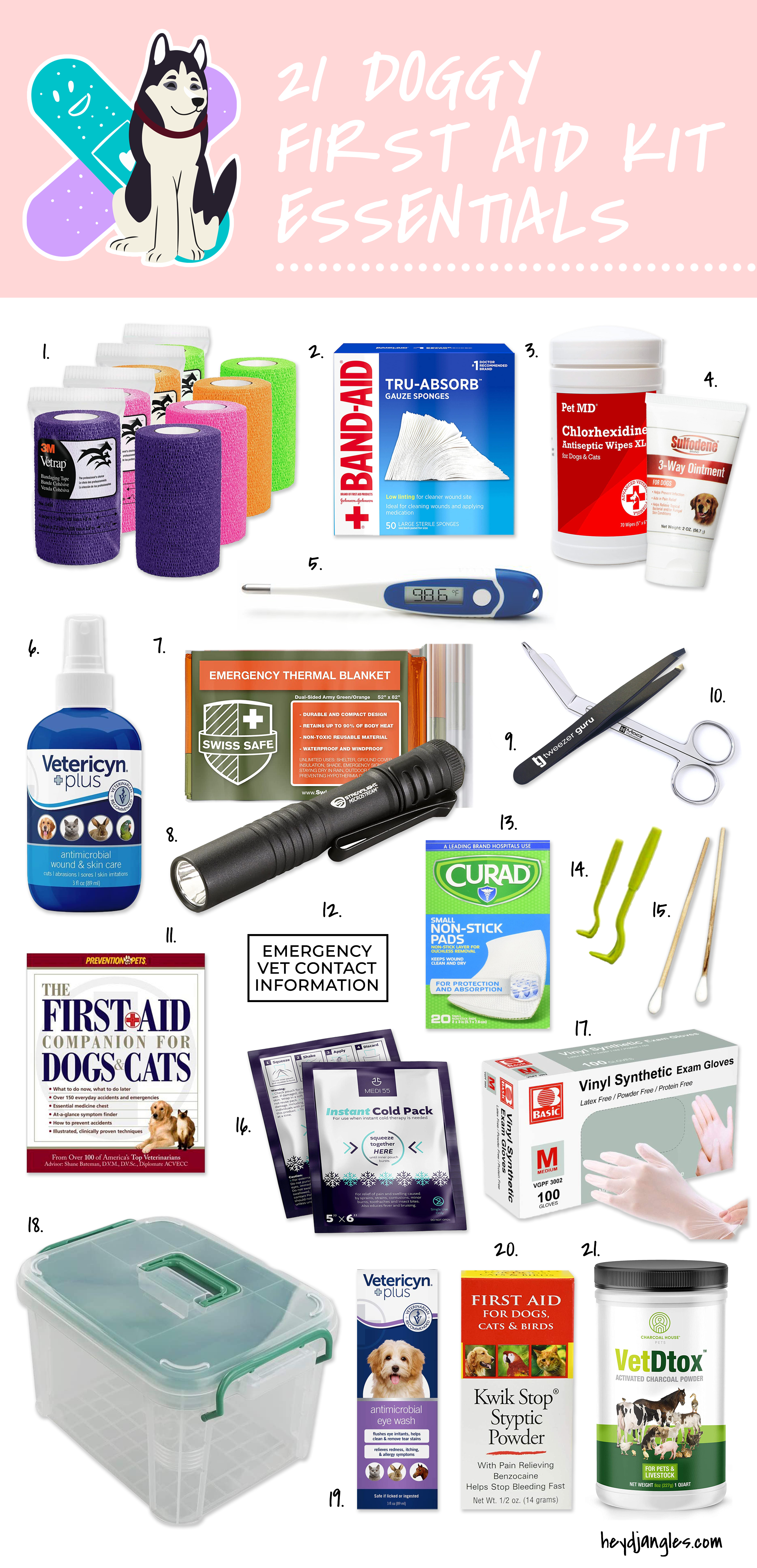 21 Doggy First Aid Kit Essentials - Hey, Djangles. First aid kit for dogs, dog first aid kit essentials.