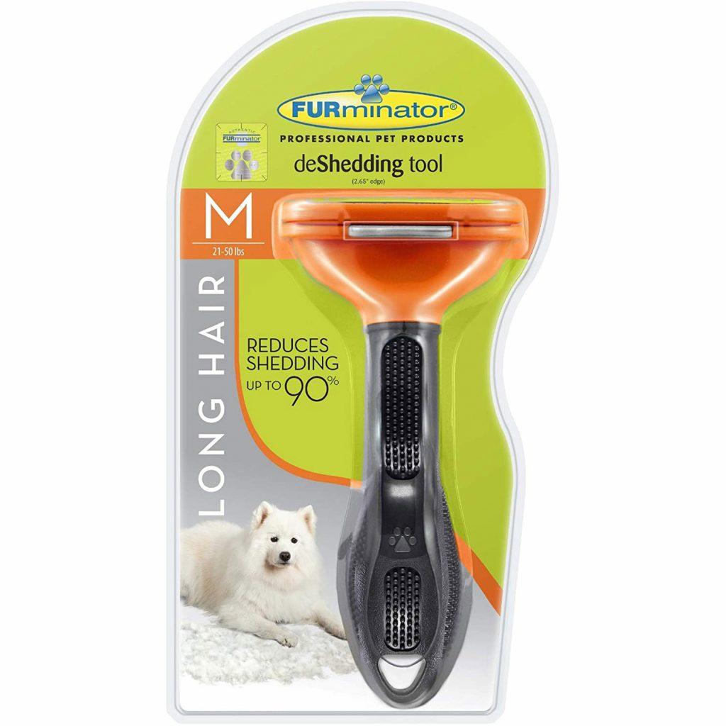 FURminator Deshedding tool for dogs with long hair via Amazon