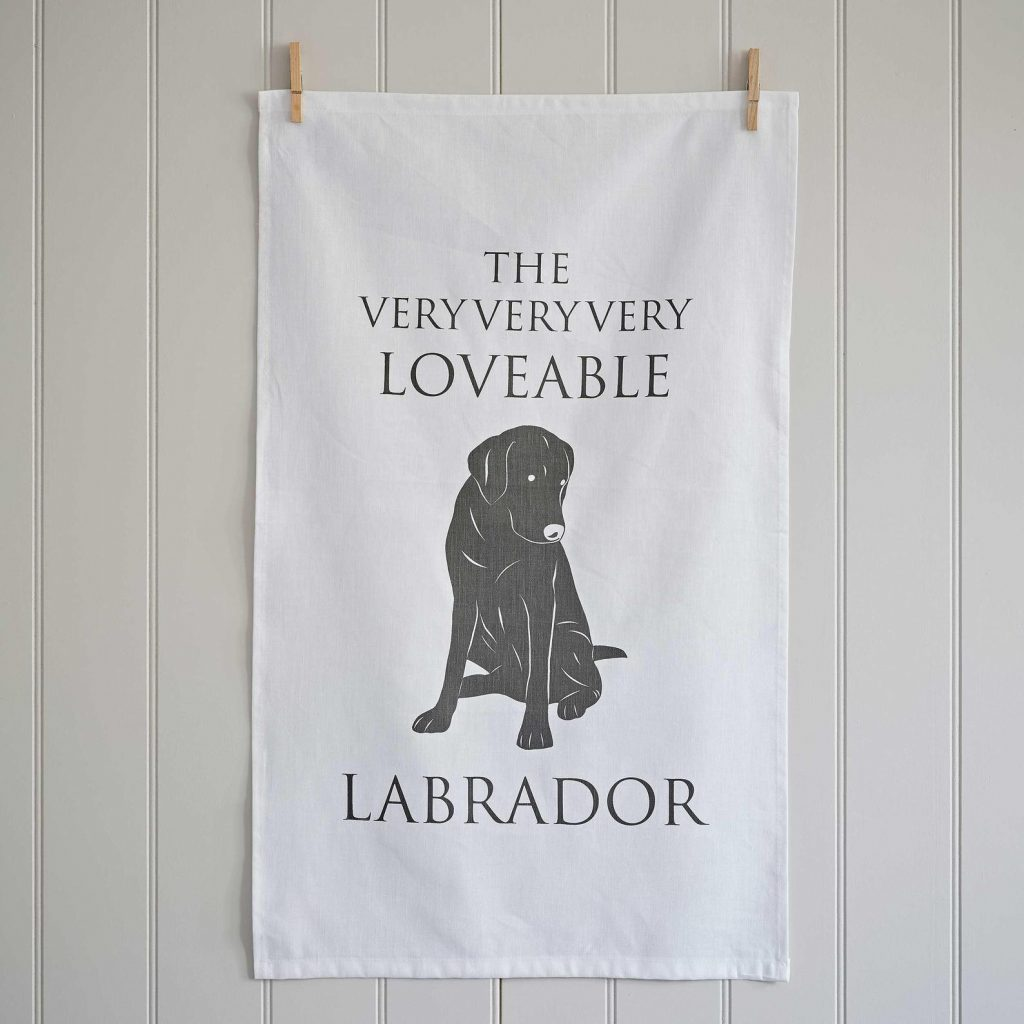 Black Labrador Tea Towel via Etsy