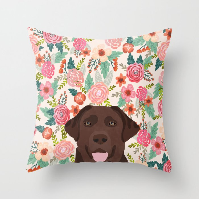 Chocolate Lab Throw Pillow via Society6, Labrador Themed GIfts