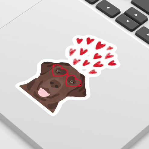 Chocolate Lab Sticker via Society6