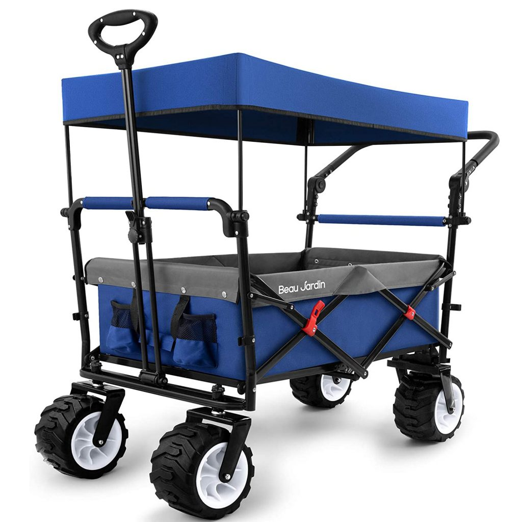 Beau Jardin Folding Push Wagon Cart with Canopy via Amazon