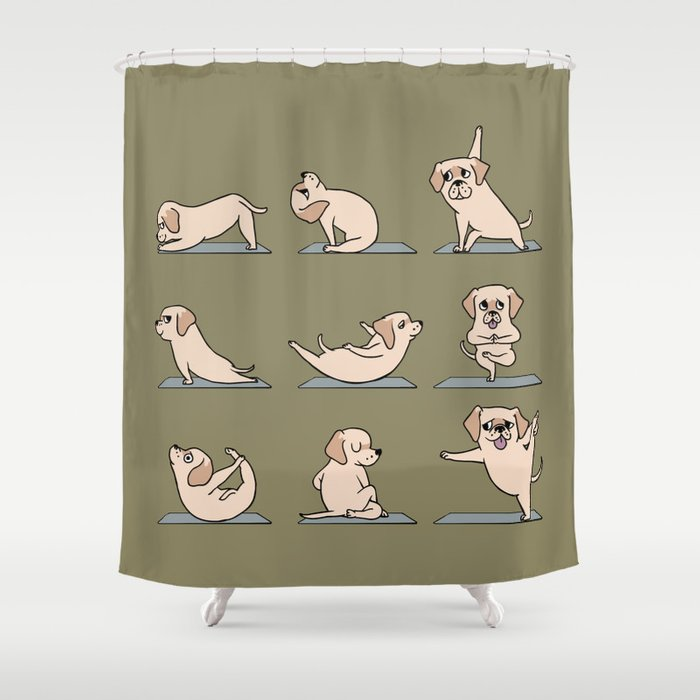 Labrador Yoga Shower Curtain via Society6