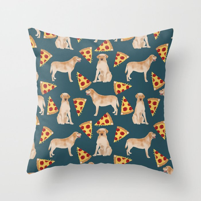 Labrador Pizza Throw Pillow via Society6