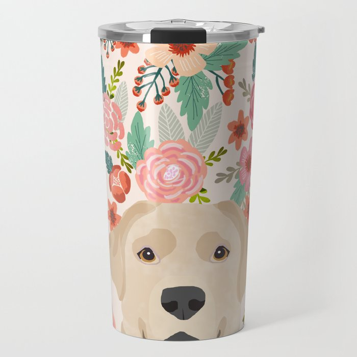Yellow Lab Travel Mug via Society6, Labrador Themed GIfts