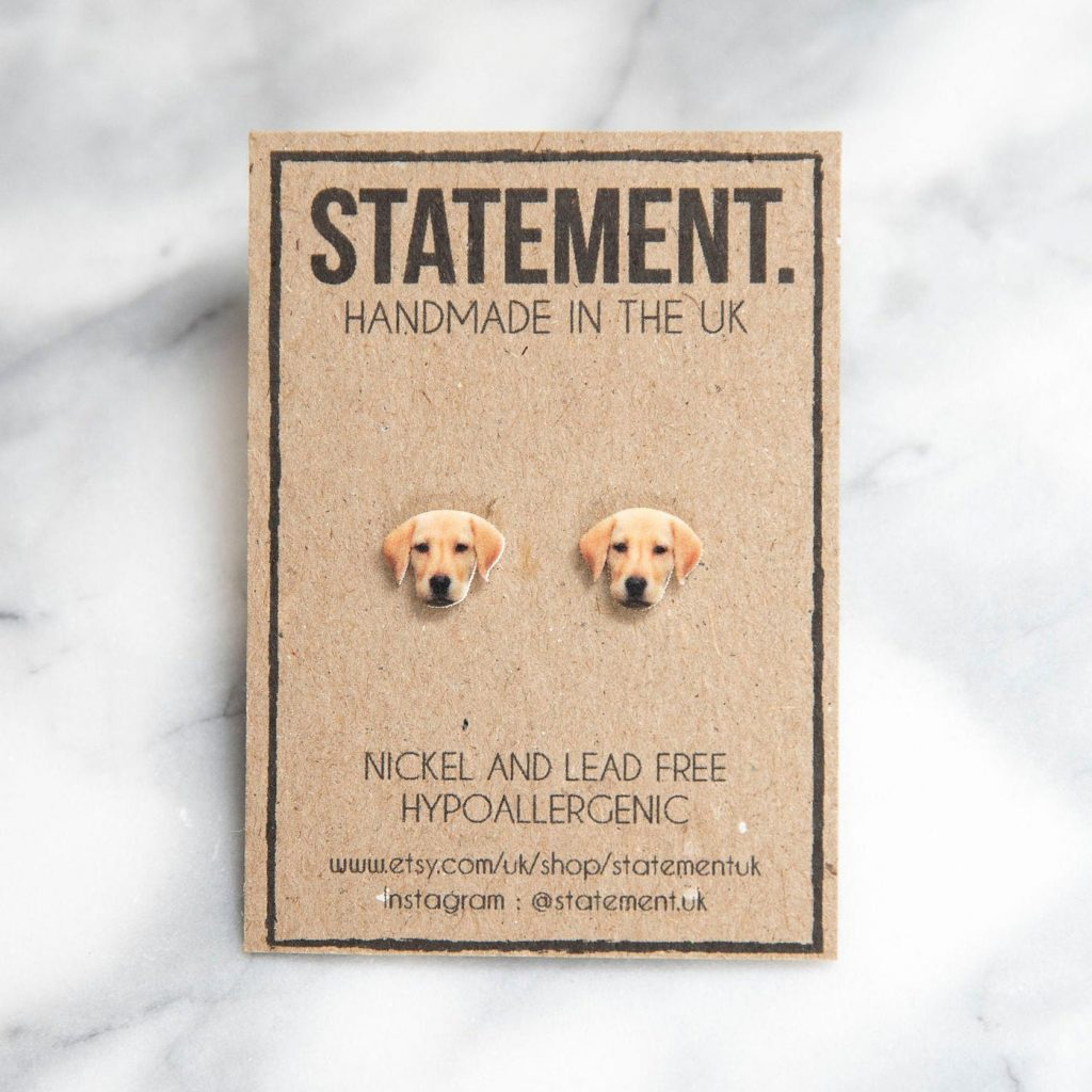 Labrador Stud Earrings via Etsy, Labrador Themed GIfts