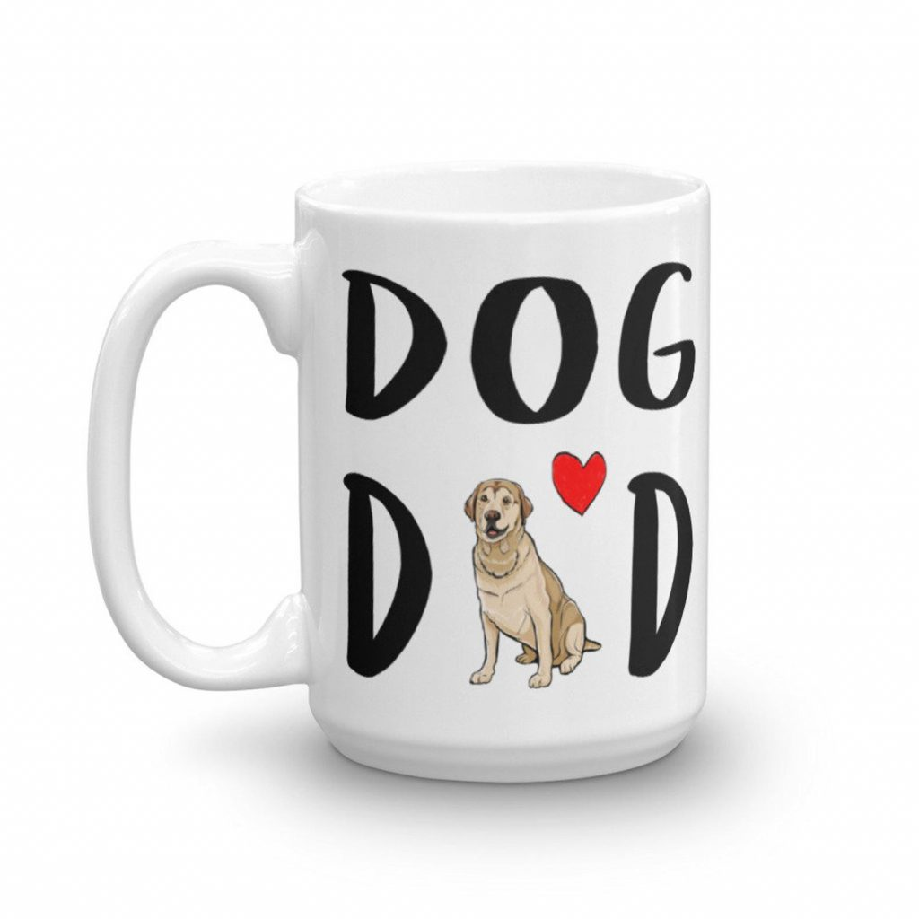 Yellow Lab Dog Dad Mug via Etsy, Labrador Themed GIfts