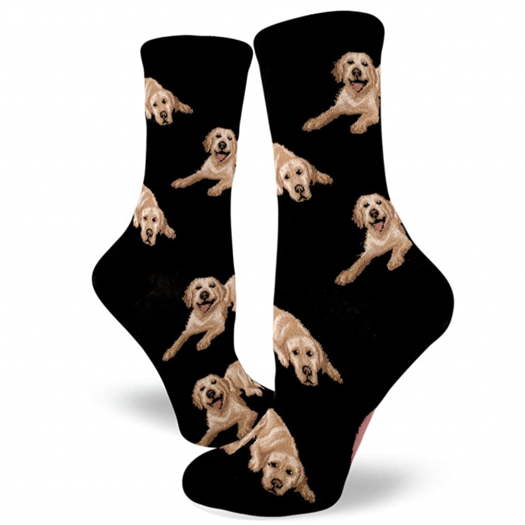 Yellow Labrador Dog Socks via Amazon, Labrador Themed GIfts