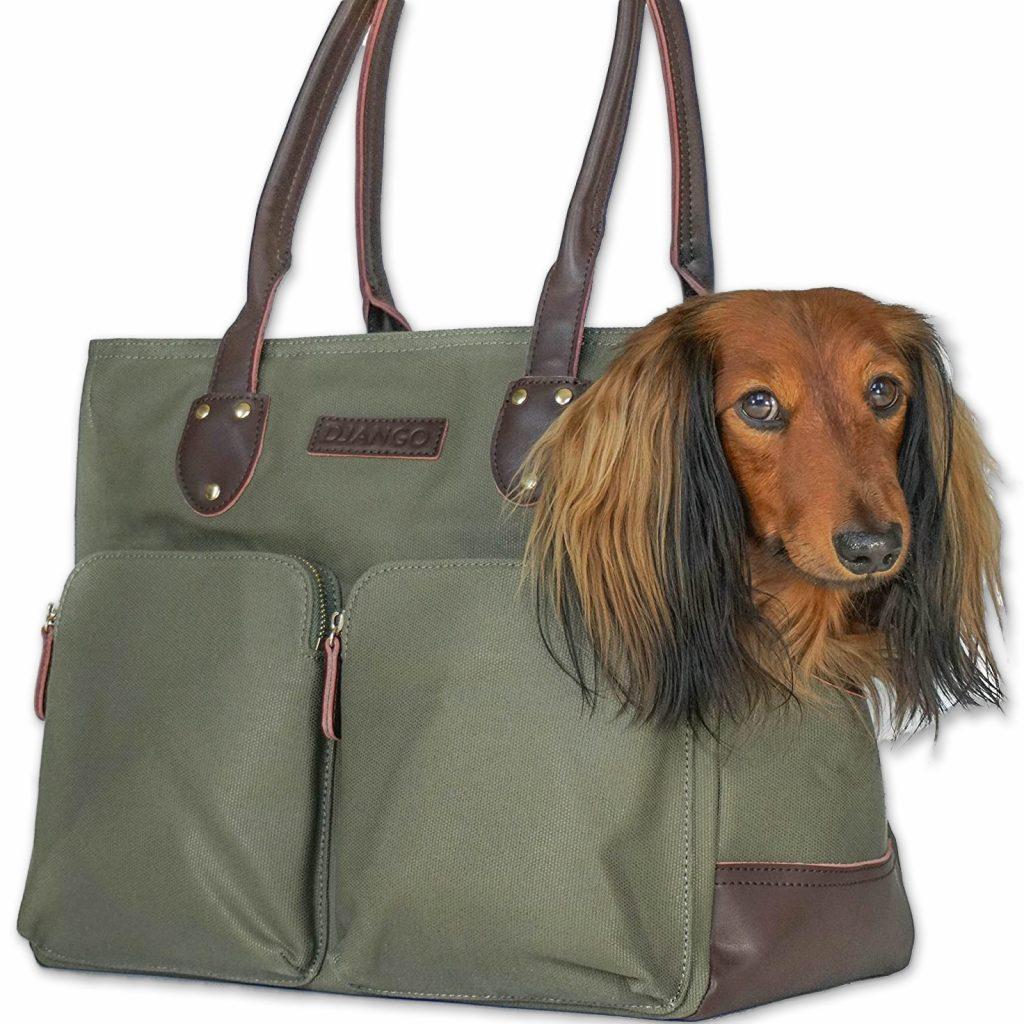 20+ Discreet Dog Purse Carrier Options For Stylish Pups - feat. 'Django Waxed Canvas Carrier Bag' via Django/Amazon