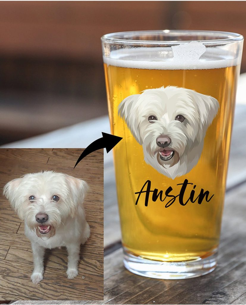 Custom Pet Beer Glass Set (My Pets Decor – Etsy)