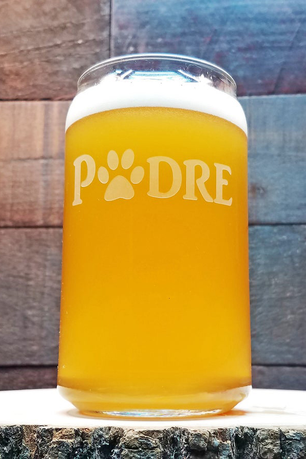 'Padre' Beer Can Paw Print Glass (The Engravery – Etsy)