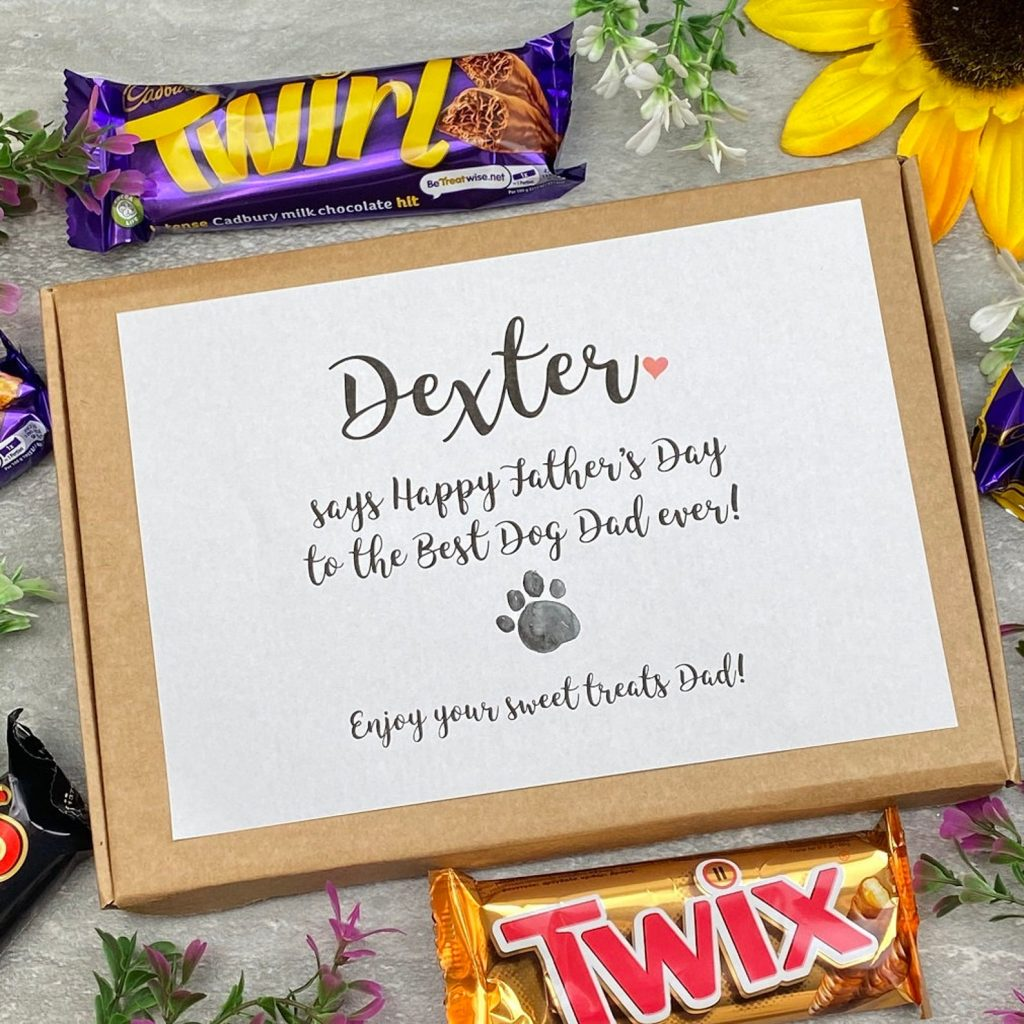 Personalized Dog Dad Chocolate Gift Box (Treats by Persnickety – Etsy)