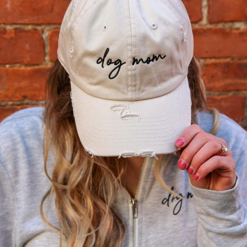 30 Cute Mother's Day Gifts From The Dog - feat. Dog Mom Distressed Baseball Cap (via Collar Doos - Etsy)