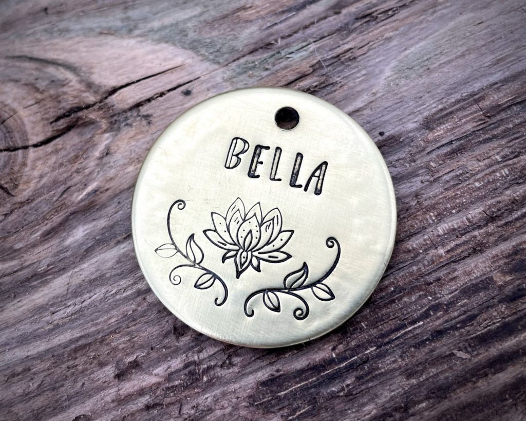 100+ Zen Dog Names, feat. Lotus Dog ID Tag via Waggy Pooch (Etsy)