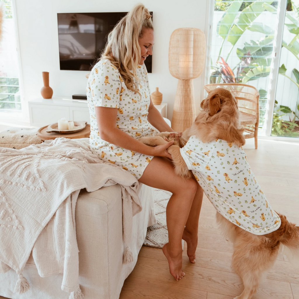 30 Cute Mother's Day Gifts From The Dog - feat. 'Golden Humum' Summer PJ Set and Matching Golden Dog Tee PJ (via Stylish Hound)