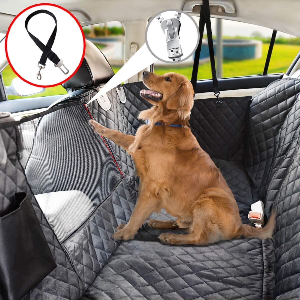 Best Car Hammock With Full Mesh Visibility Window - VAILGE Waterproof Dog Car Seat Cover via Amazon