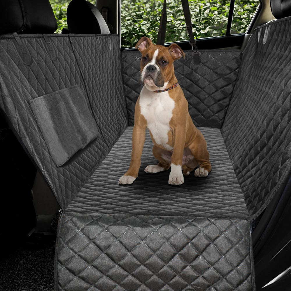 Best Car Hammock Without Mesh Visibility Window - HONEST OUTFITTERS Quilted Dog Car Seat Cover via Amazon
