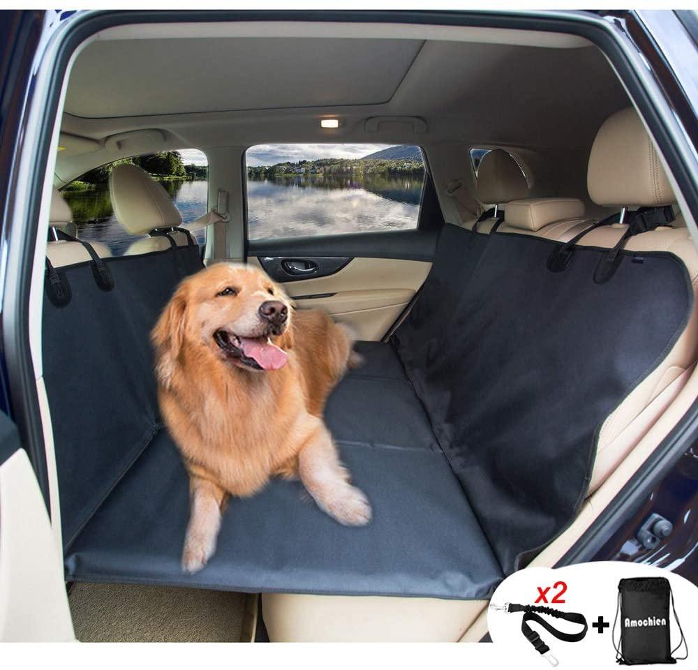 Best Car Hammock for Dogs with Pet Bridge - AMOCHIEN Back Seat Extender Dog Hammock via Amazon