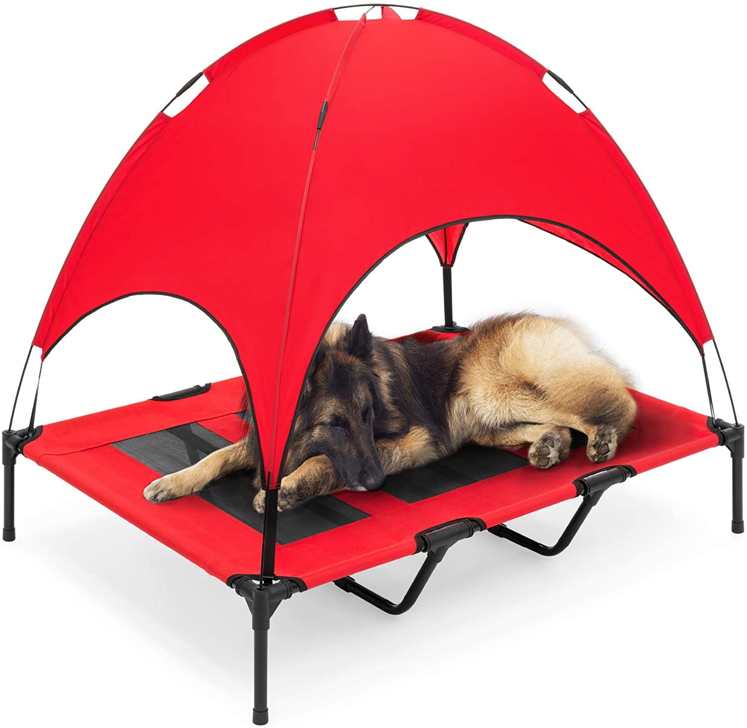 Best Cooling Beds for Dogs feat. BEST CHOICE PRODUCTS Elevated Cooling Dog Bed with Canopy, image via Best Choice Products/Amazon