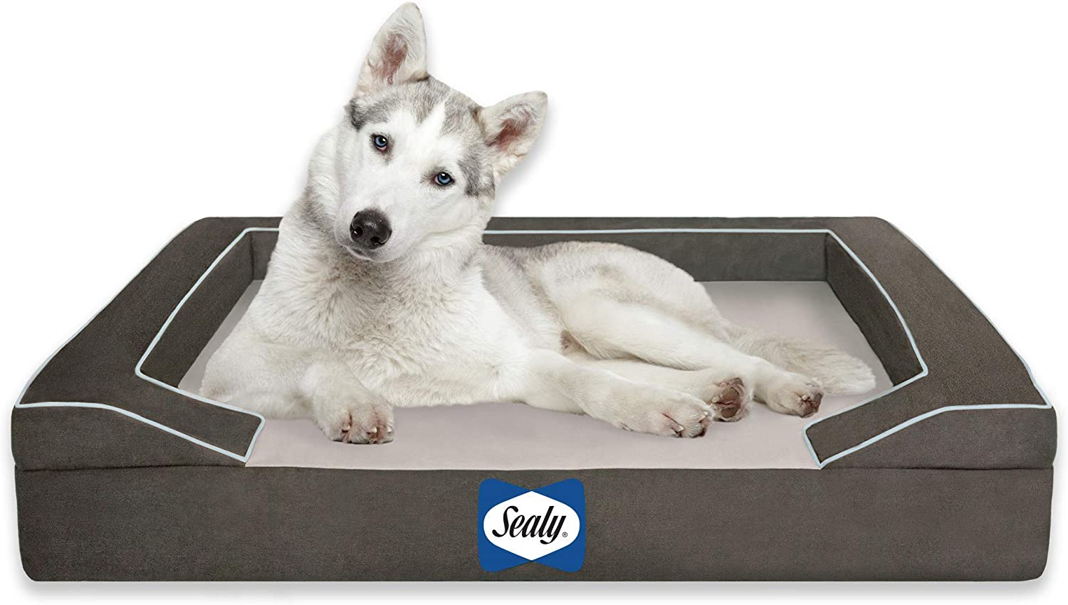 Best Cooling Beds for Dogs feat. SEALY Lux Quad Layer Orthopedic Dog Bed with Cooling Gel, image via Sealy/Amazon
