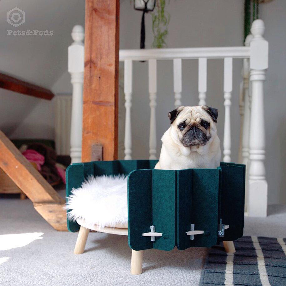 Pets&Pods 'Biscuit' Pet Bed (PET felt made from 60% recycled plastic bottles) via Design Milk (image via Pets&Pods)