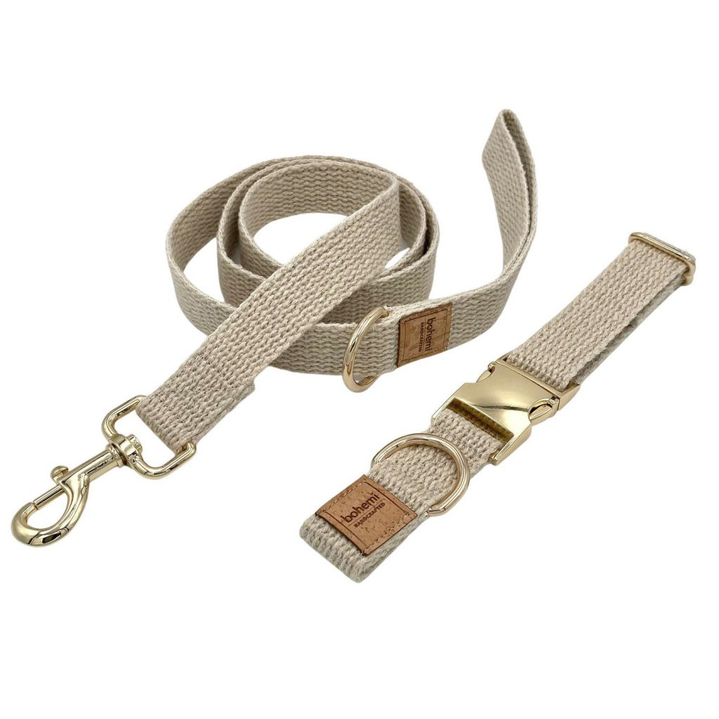 Bohemi Handcrafted Organic Hemp Dog Collar and Lead Set via Etsy, Eco-Friendly Products for Dogs