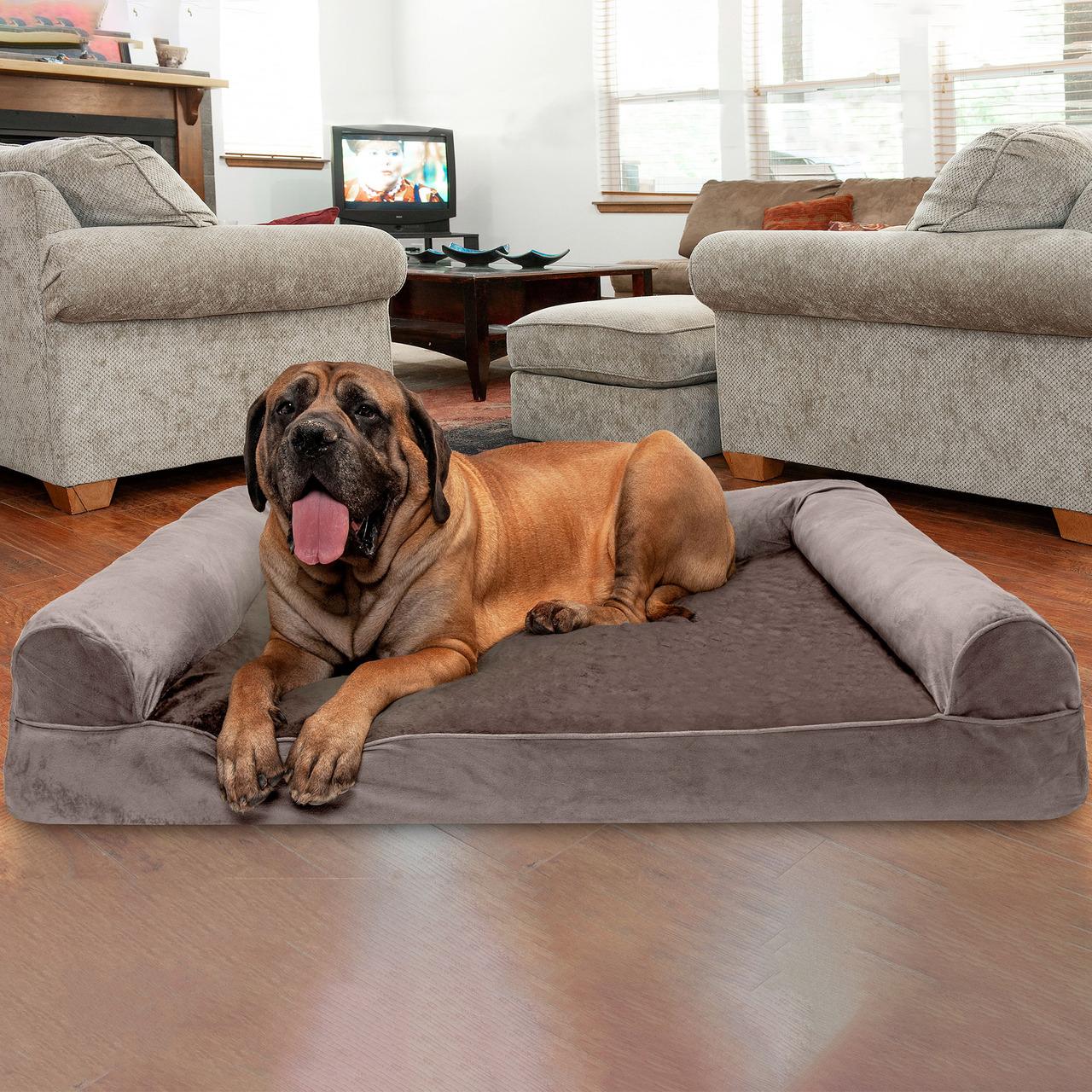FURHAVEN PET Sofa Dog Bed with Cooling Gel Foam