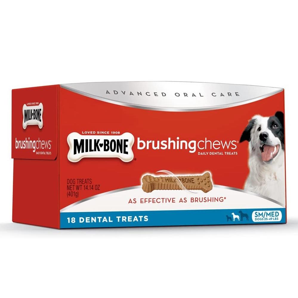 MILKBONE BRUSHING CHEWS DAILY DENTAL TREATS via Amazon, Best Dog Teeth Cleaning Chews