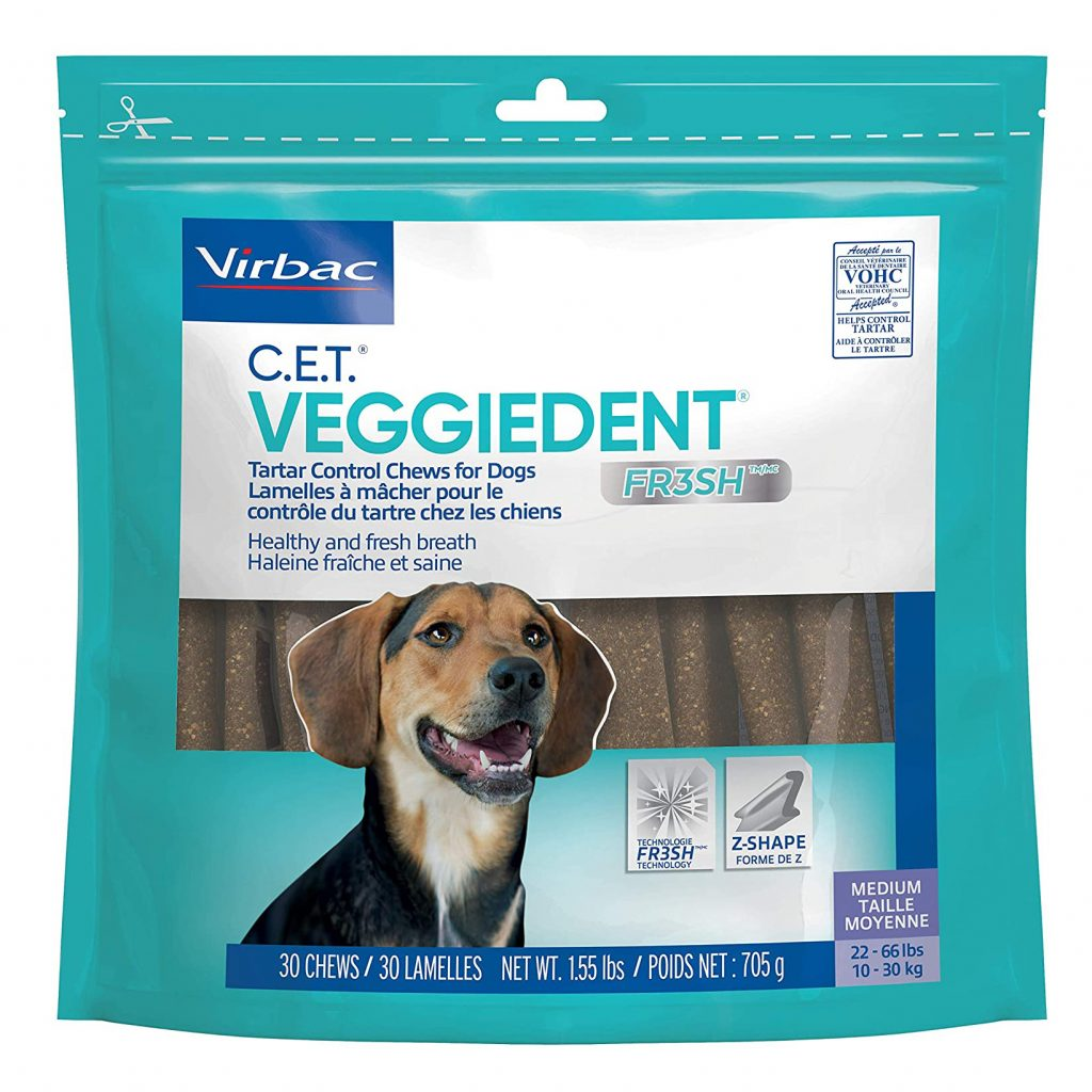 VIRBAC C.E.T. VEGGIEDENT TARTAR CONTROL CHEWS via Amazon, Best Dog Teeth Cleaning Chews