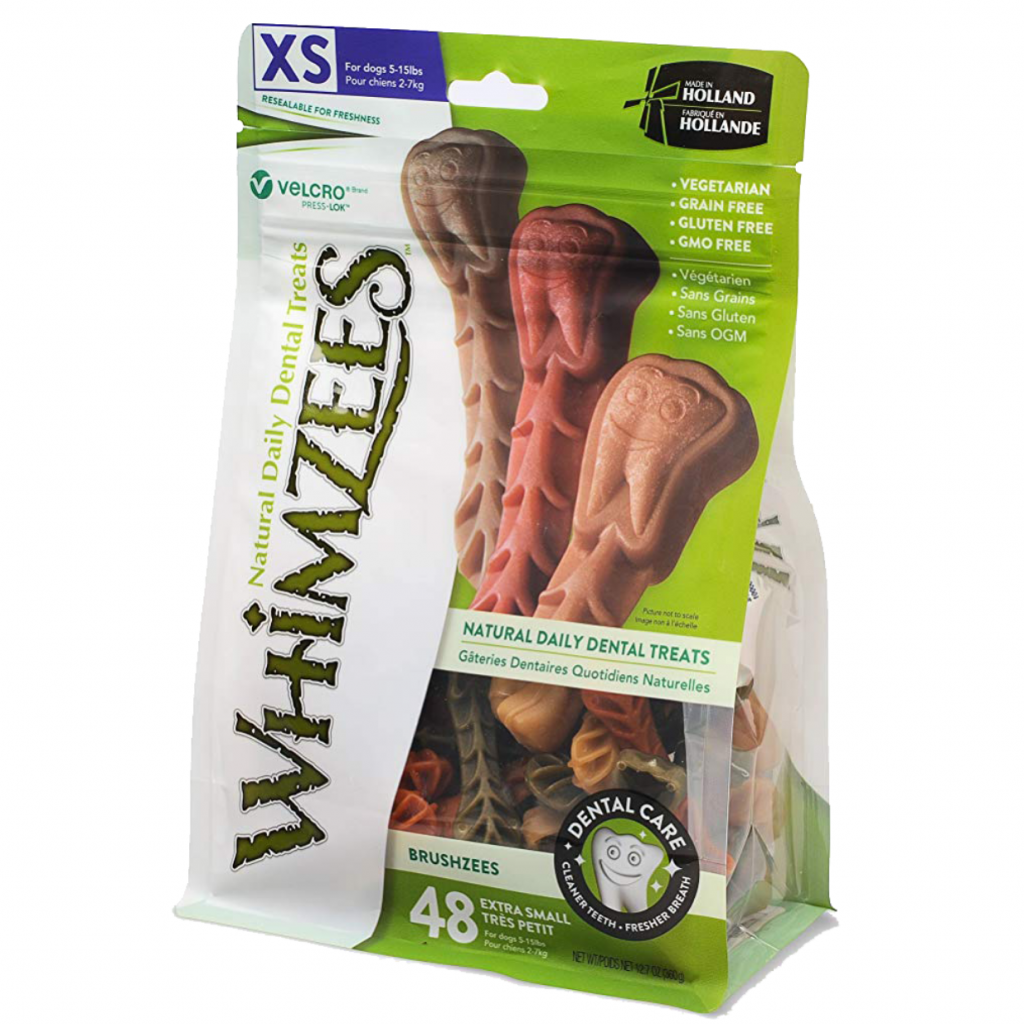 WHIMZEES BRUSHZEES NATURAL DENTAL TREATS FOR DOGS via Amazon, Best Dog Teeth Cleaning Chews