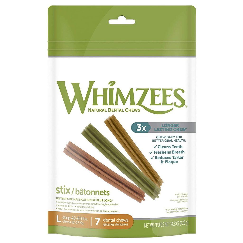 WHIMZEES STIX NATURAL DENTAL CHEWS FOR DOGS via Amazon
