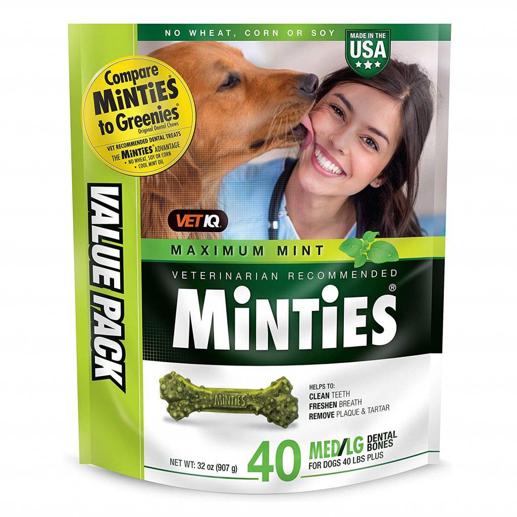 VetIQ Minties Dog Dental Chews via Amazon