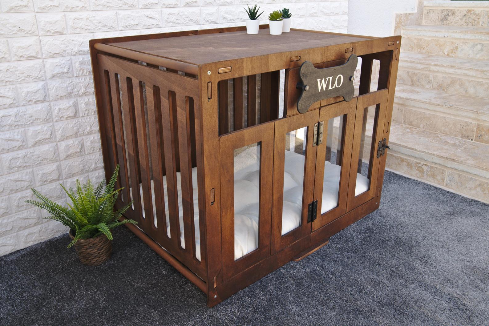 WLO Modern Wooden Dog House Crate via WLO Wood (Etsy)