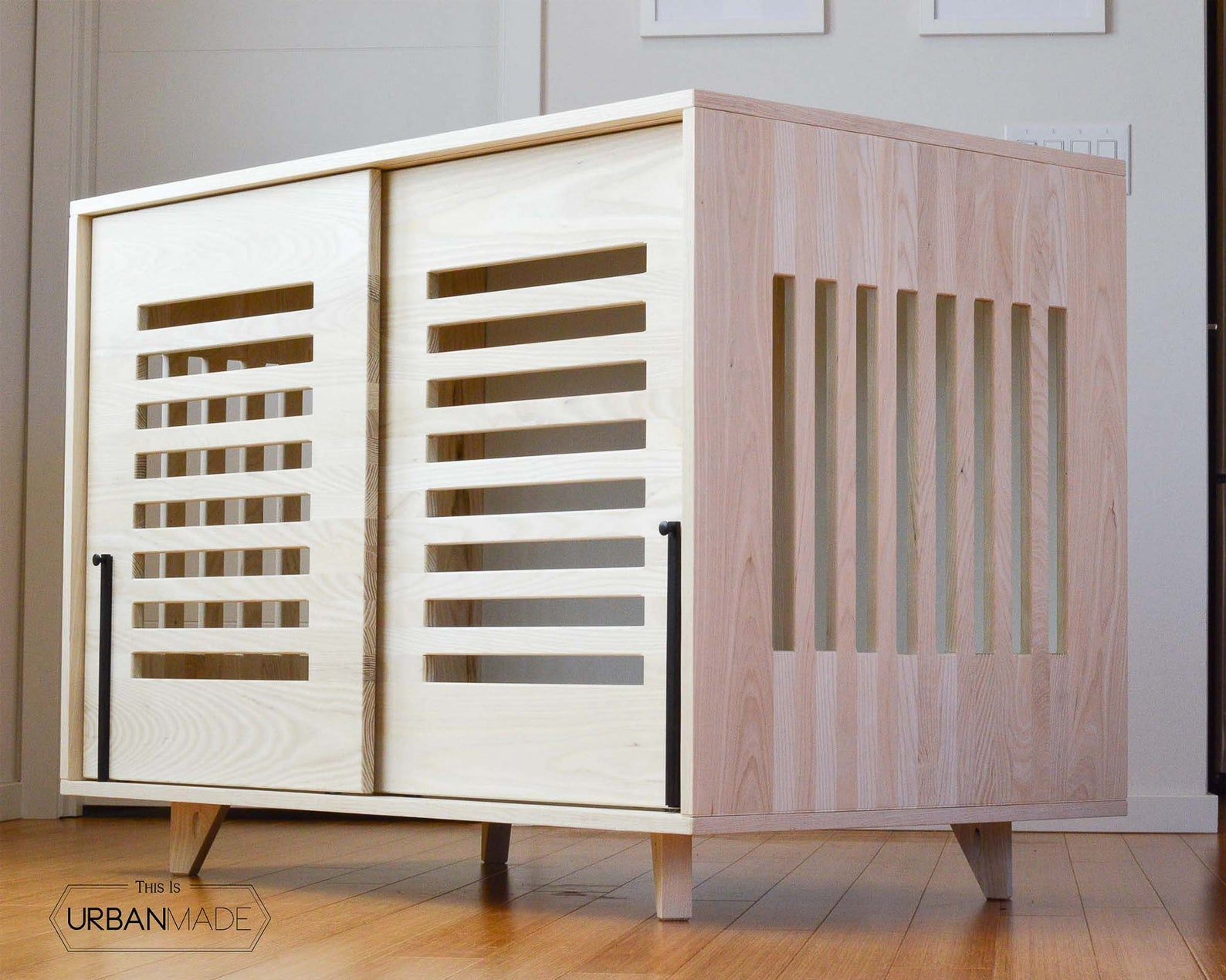 Light Wood Dog Crate Furniture via This Is Urban Made (Etsy)