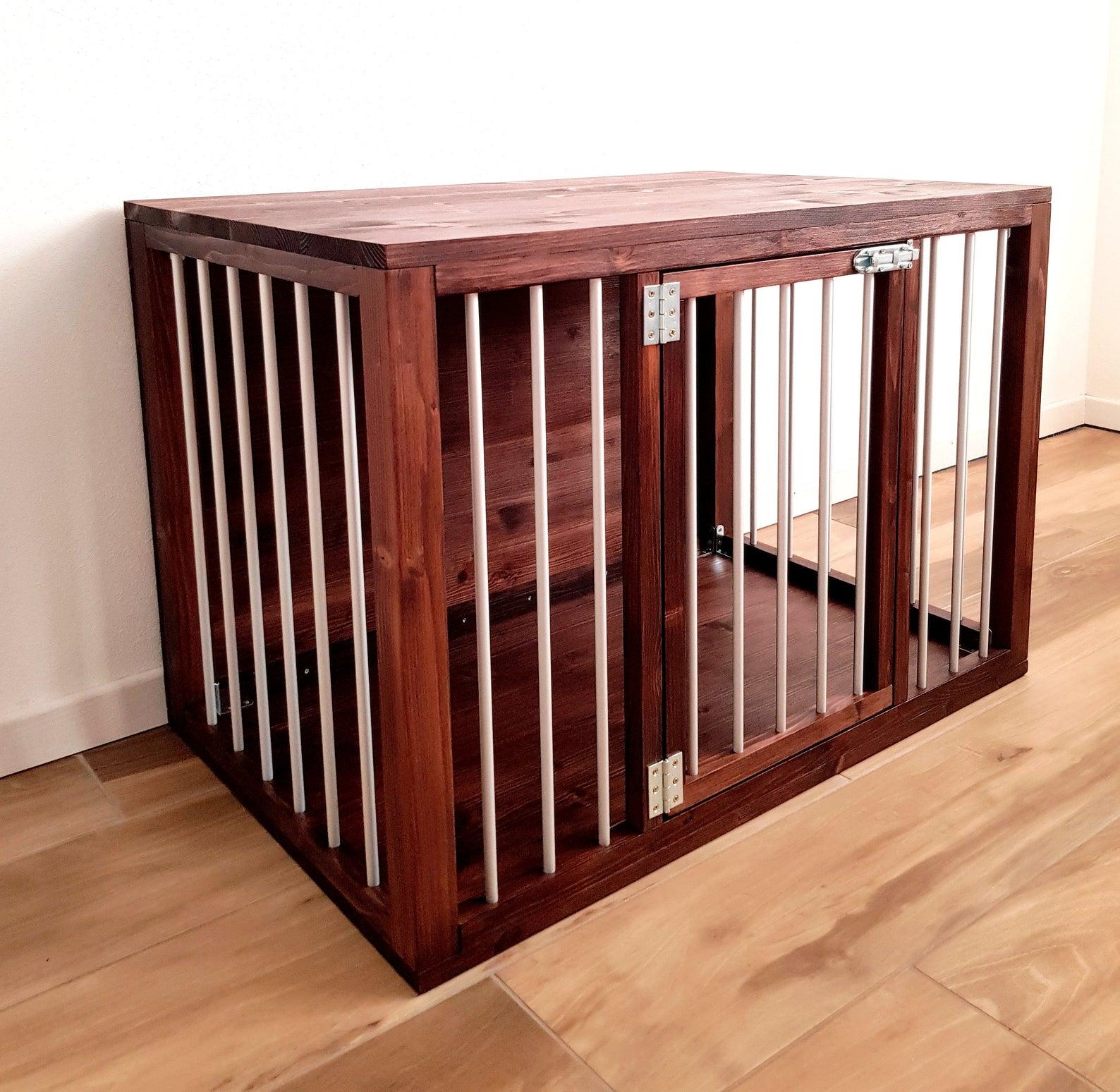 Modern Wood and Aluminium Dog House Crate via Pink Bau (Etsy)
