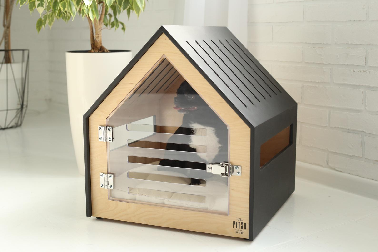 20+ Attractive Dog Crate Options for Modern Pups - feat. PetSo Modern Dog or Cat House with Acrylic Door via Nice People Workshop (Etsy)