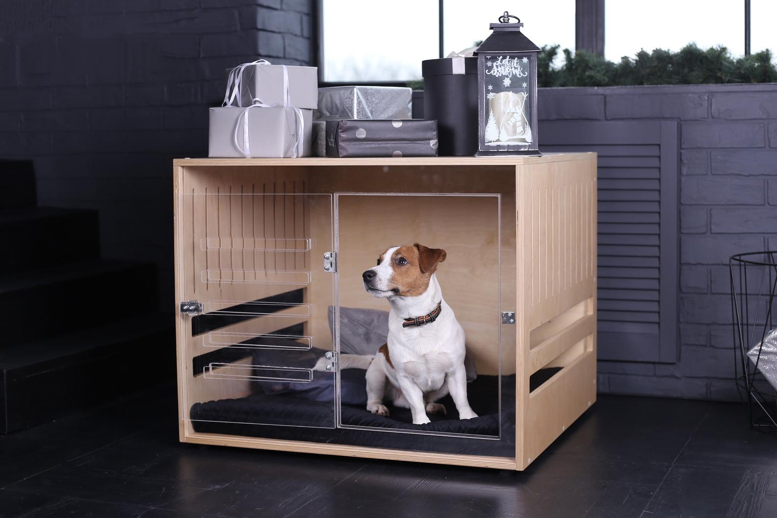 Modern Plywood Dog Crate with Acrylic Front via Nice People Workshop (Etsy)