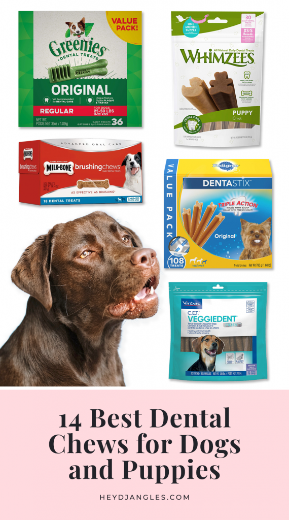 Best Dog Teeth Cleaning Chews - best dental chews for dogs and puppies, featuring brands such as Greenie, Milk-Bone, Purina, Pedigree, Whimzees, VetIQ, Zuke's, OraVet, Virbac and Bark Bright.
